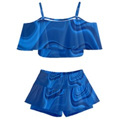Rendering Streak Wave Background Kids  Off Shoulder Skirt Bikini
