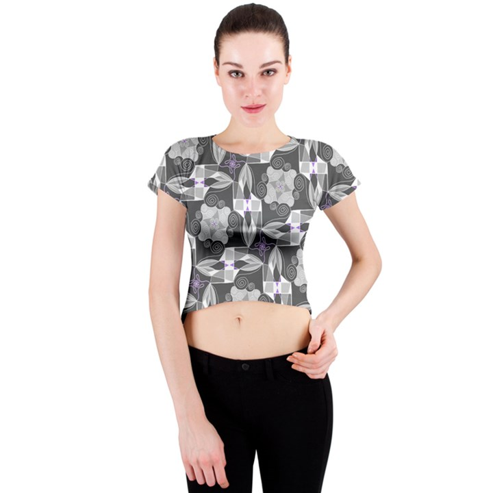 Ornament Pattern Background Crew Neck Crop Top