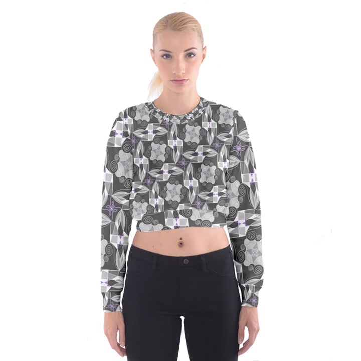 Ornament Pattern Background Cropped Sweatshirt