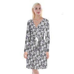 Ornament Pattern Background Long Sleeve Velvet Front Wrap Dress