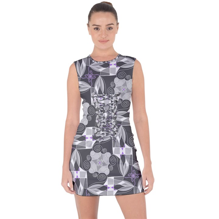 Ornament Pattern Background Lace Up Front Bodycon Dress
