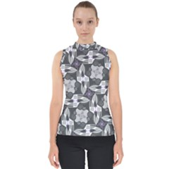 Ornament Pattern Background Mock Neck Shell Top