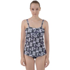 Ornament Pattern Background Twist Front Tankini Set