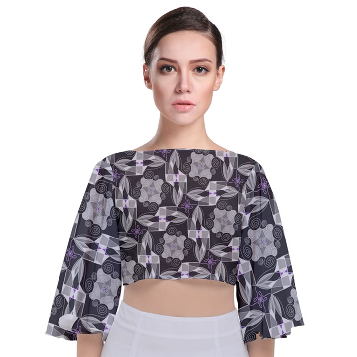 Ornament Pattern Background Tie Back Butterfly Sleeve Chiffon Top
