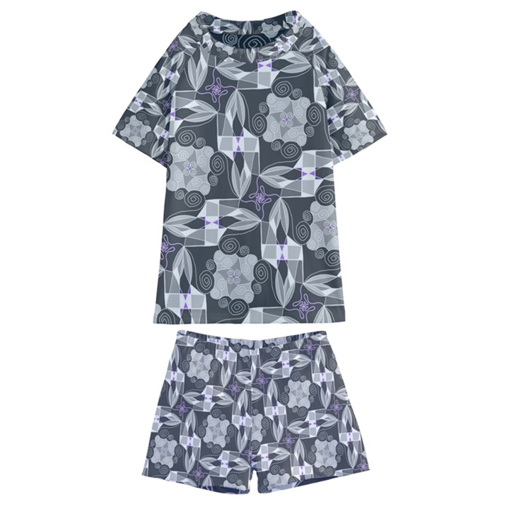 Ornament Pattern Background Kids  Swim Tee and Shorts Set