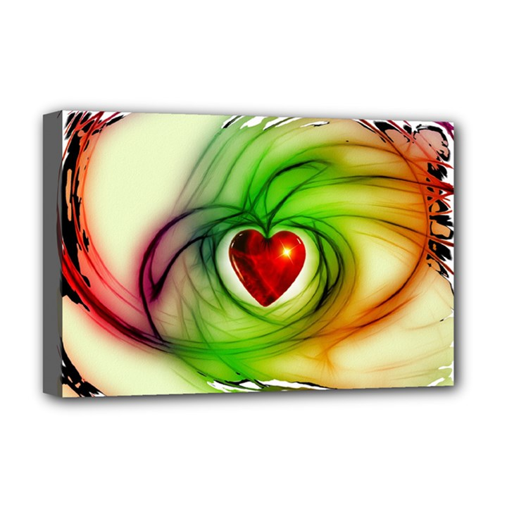 Heart Love Luck Abstract Deluxe Canvas 18  x 12  (Stretched)