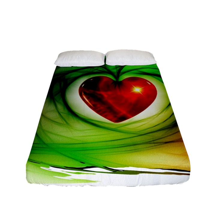 Heart Love Luck Abstract Fitted Sheet (Full/ Double Size)