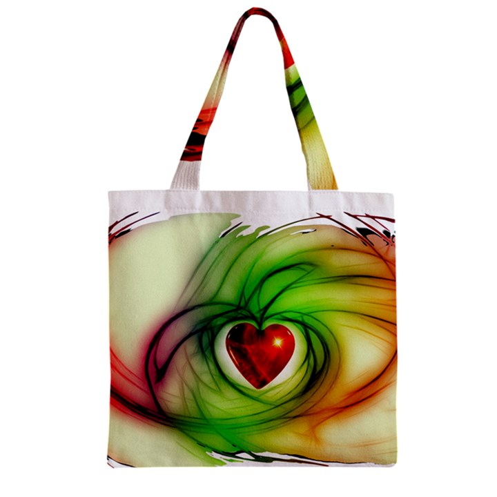 Heart Love Luck Abstract Zipper Grocery Tote Bag