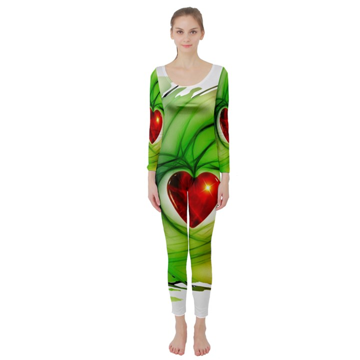 Heart Love Luck Abstract Long Sleeve Catsuit