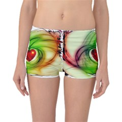 Heart Love Luck Abstract Boyleg Bikini Bottoms by Pakrebo