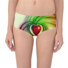 Heart Love Luck Abstract Mid Waist Bikini Bottoms by Pakrebo