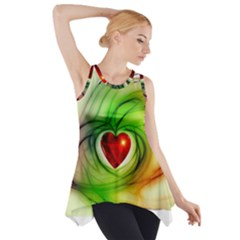 Heart Love Luck Abstract Side Drop Tank Tunic