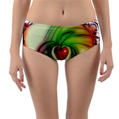 Heart Love Luck Abstract Reversible Mid Waist Bikini Bottoms by Pakrebo