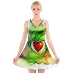 Heart Love Luck Abstract V Neck Sleeveless Dress