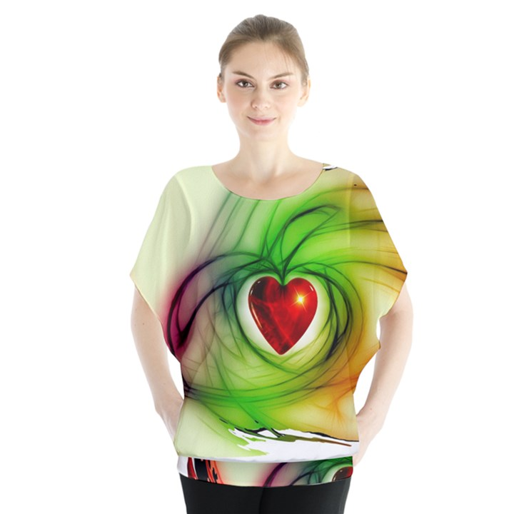 Heart Love Luck Abstract Batwing Chiffon Blouse