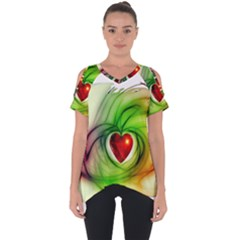 Heart Love Luck Abstract Cut Out Side Drop Tee