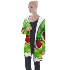 Heart Love Luck Abstract Longline Hooded Cardigan