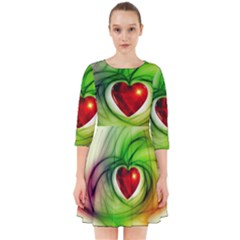 Heart Love Luck Abstract Smock Dress