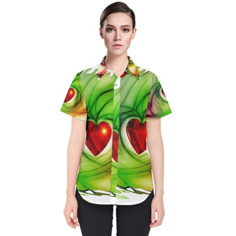 Heart Love Luck Abstract Women s Short Sleeve Shirt by Pakrebo