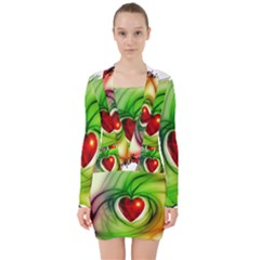 Heart Love Luck Abstract V Neck Bodycon Long Sleeve Dress