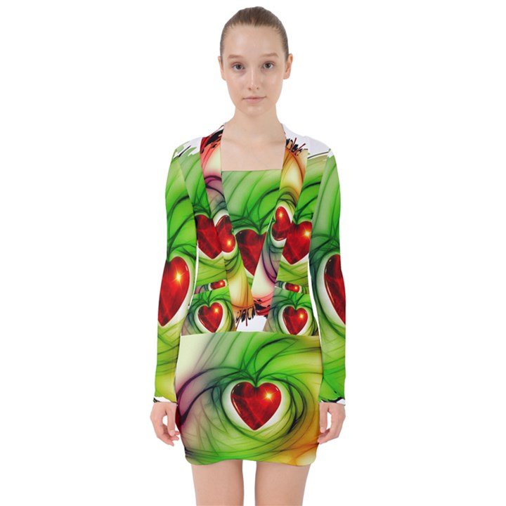 Heart Love Luck Abstract V-neck Bodycon Long Sleeve Dress