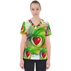 Heart Love Luck Abstract Women s V Neck Scrub Top