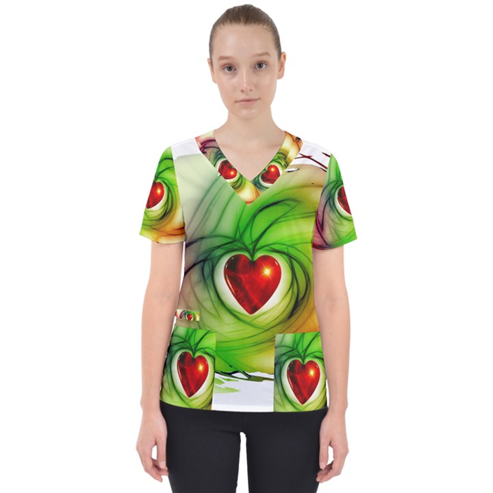 Heart Love Luck Abstract Women s V-Neck Scrub Top