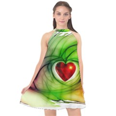 Heart Love Luck Abstract Halter Neckline Chiffon Dress