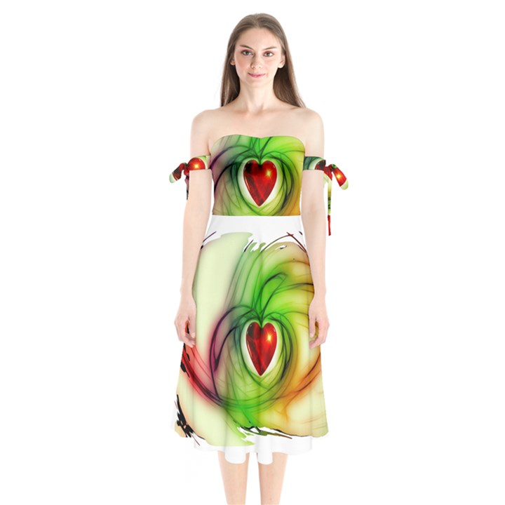 Heart Love Luck Abstract Shoulder Tie Bardot Midi Dress