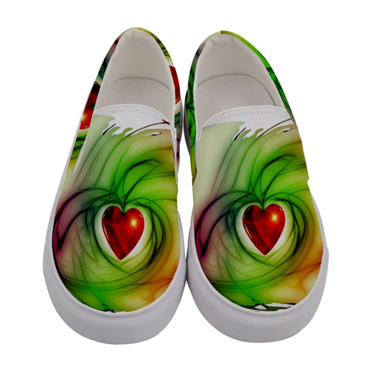 Heart Love Luck Abstract Women s Canvas Slip Ons