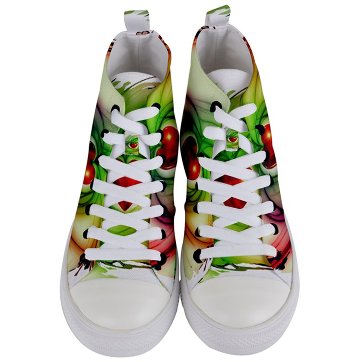 Heart Love Luck Abstract Women s Mid-Top Canvas Sneakers