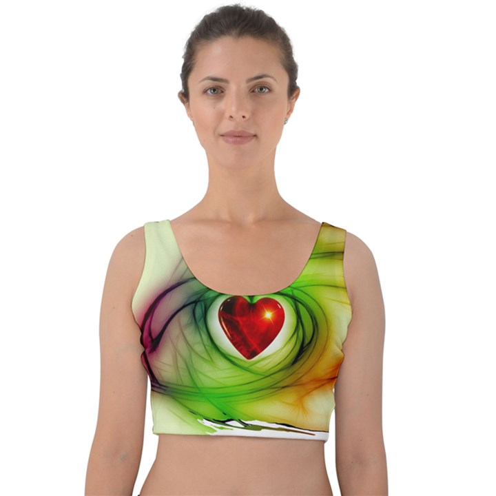 Heart Love Luck Abstract Velvet Crop Top