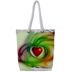 Heart Love Luck Abstract Full Print Rope Handle Tote (small)
