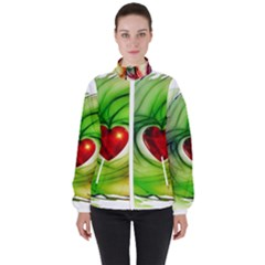 Heart Love Luck Abstract High Neck Windbreaker (women) by Pakrebo