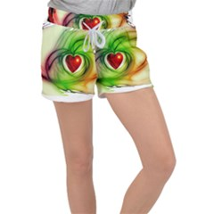 Heart Love Luck Abstract Women s Velour Lounge Shorts