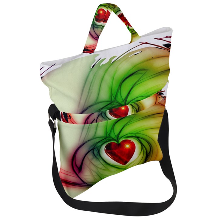 Heart Love Luck Abstract Fold Over Handle Tote Bag