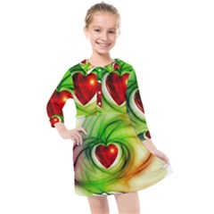 Heart Love Luck Abstract Kids  Quarter Sleeve Shirt Dress