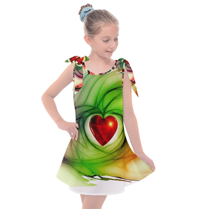 Heart Love Luck Abstract Kids  Tie Up Tunic Dress