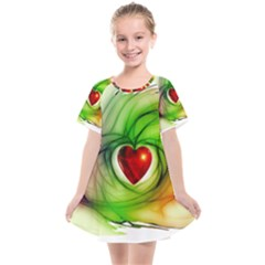 Heart Love Luck Abstract Kids  Smock Dress by Pakrebo