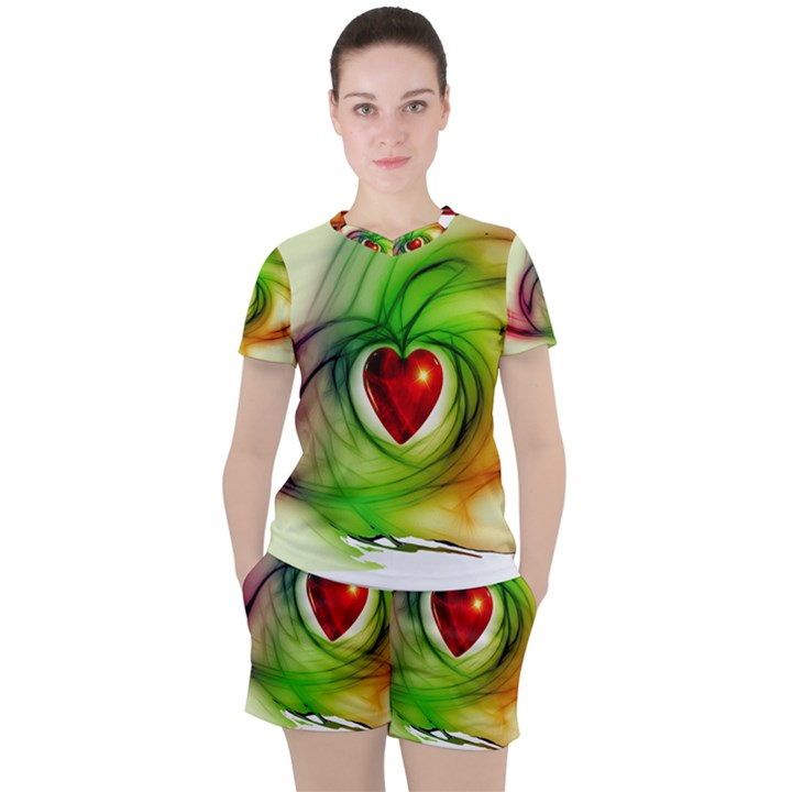 Heart Love Luck Abstract Women s Tee and Shorts Set