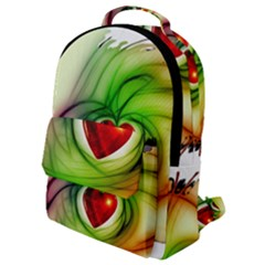 Heart Love Luck Abstract Flap Pocket Backpack (small)