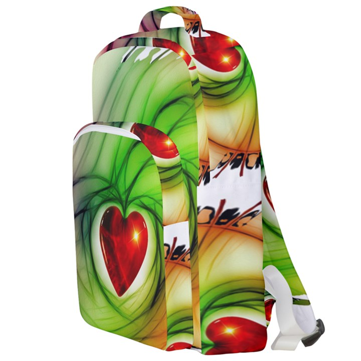 Heart Love Luck Abstract Double Compartment Backpack