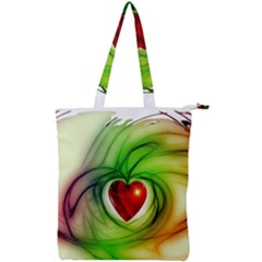 Heart Love Luck Abstract Double Zip Up Tote Bag