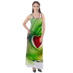Heart Love Luck Abstract Sleeveless Velour Maxi Dress