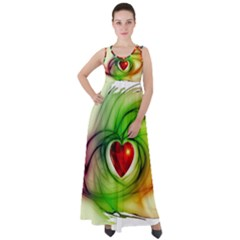 Heart Love Luck Abstract Empire Waist Velour Maxi Dress