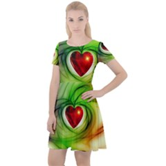 Heart Love Luck Abstract Cap Sleeve Velour Dress