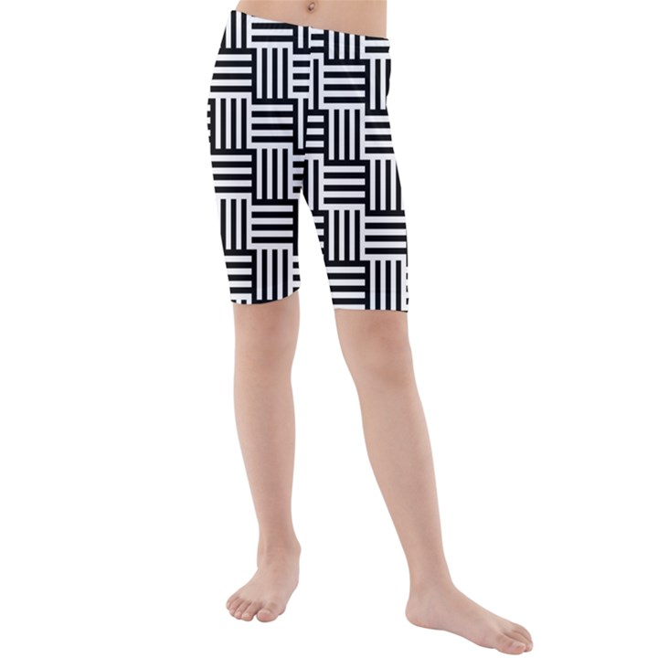 Black And White Basket Weave Kids  Mid Length Swim Shorts