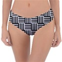 Black And White Basket Weave Reversible Classic Bikini Bottoms View3