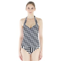 Black And White Basket Weave Halter Swimsuit
