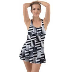 Black And White Basket Weave Ruffle Top Dress Swimsuit